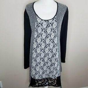 Darkwin Longsleeve Unique Grey Black Sweater Dress